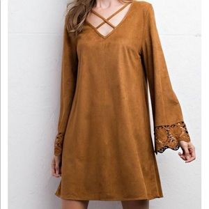 Camel colored suede dress